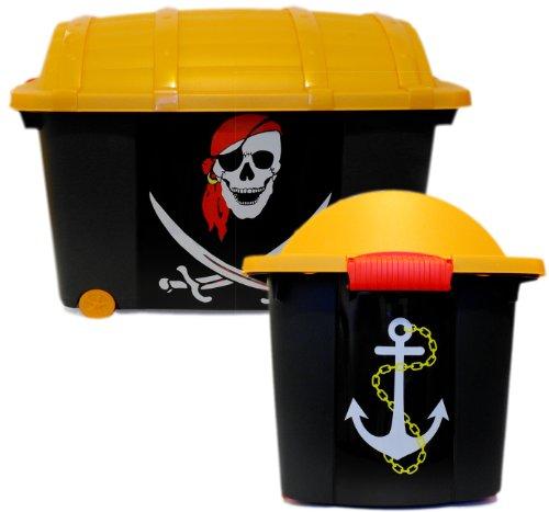 LS-Design Kinder Spielzeugkiste Schatztruhe Aufbewahrungsbox Piratenbox Piratenkiste Pirat