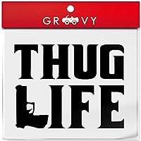 ヒップホップ hiphop シール ストリート ギャング ステッカー THUG LIFE 銃 車用 サグライフ_104 (ブラック)