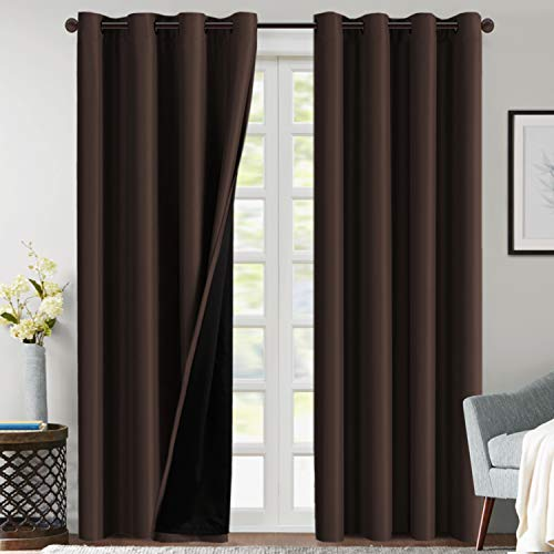 100% Blackout Curtains for Bedroom 84 Inches Long Thermal Insulated Lined Curtains for Living Room Double Layer Full Light Blocking Energy Saving Grommet Drapes Draperies, 2 Panels, Brown
