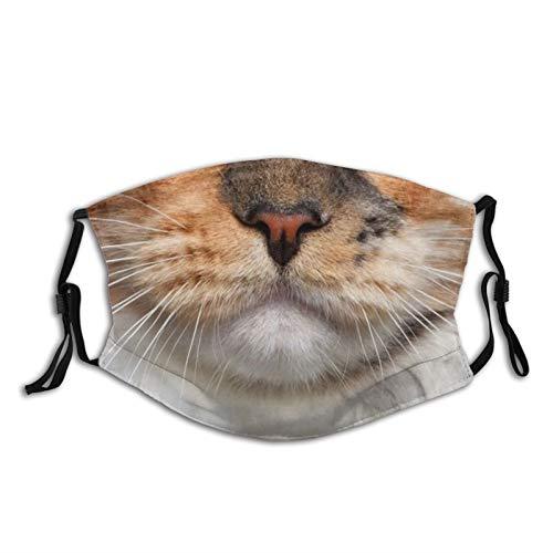 Orange Cat Mouth Cute Smiling Print Face Mask-Adjustable Ear Loops|Reusable-With Filter Pocket-Unisex Balaclava Bandana Cloth