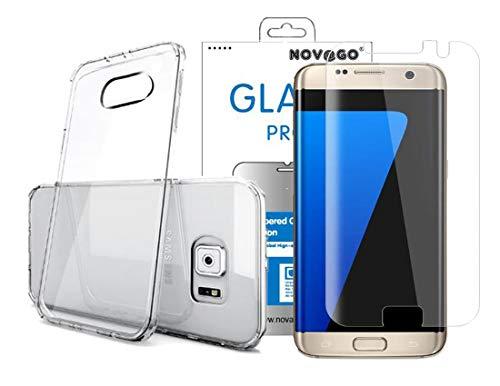 NOVAGO Compatible avec Samsung Galaxy S7 Edge (Pack 2 en 1) 1 Film en Verre trempé incurvé 3D + 1 Coque Transparente Souple et résistante (Transparent)
