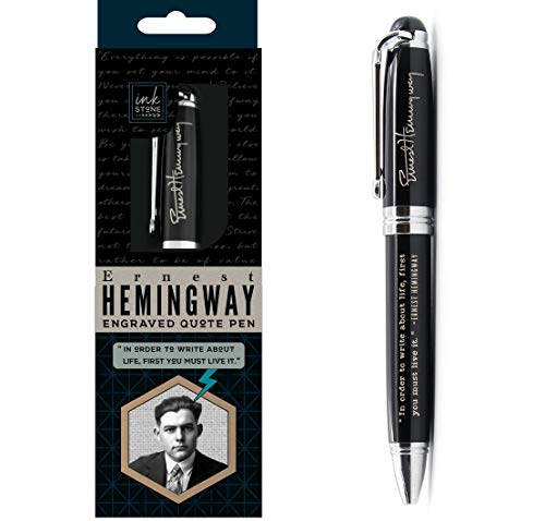 Ernest Hemingway Inspirational Quote Pen - In Order to Write About Life, First You Must Live it. - Engraved Luxury Gift Pen for Writer English Teacher Author Editor Journalist