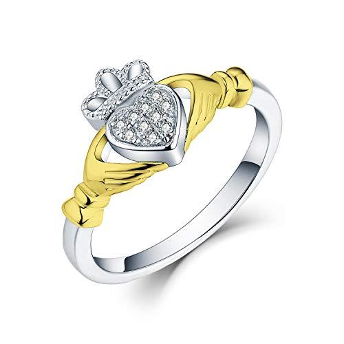 JO WISDOM 925 Sterling Silver Cubic Zirconia 18K Yellow Gold Claddagh Heart...