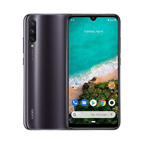 "Xiaomi Mi A3 – Android™ One, AMOLED de 6,088"" (Cámara frontal de 32 MP, trasera de 48 + ocho + dos MP,4030 mAh, Jack de 3,5 mm, Qualcomm™ Snapdragon™ 665 2,0 GHz, cuatro + 64 GB) Color Grisáceo [Versión española]"