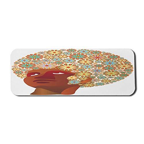 African Computer Mouse Pad, kubanischer Mann mit Blumenkopf und Blumenstrauß auf Haar Hippie-Modedruck, rechteckiges rutschfestes Gummi-Mauspad Großes Rubin-Hellgelb