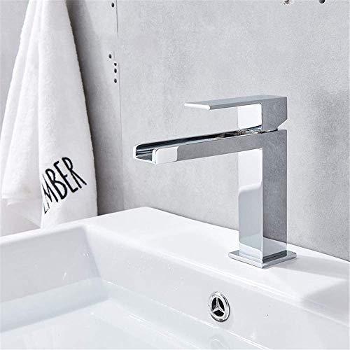 DXDUI Moda Cromado Cascada Cascada Cuarto de baño Plato Grifo Montado Montado Sola Manija Agujero Frío y Caliente