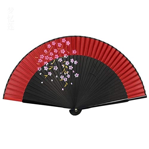 TSP Abanico de mano Sakura impresión doblada ventiladores de seda de bambú accesorios de mano para bailar hogar oficina decoración de pared ventilador (color: burdeos)