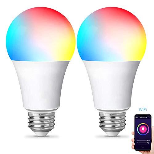 Bombilla Alexa WiFi E27, bombillas Smart LED 900 lm 9 W equivalente, regulable RGBCW Color cambiante bombilla 2700 – 9000 K, compatible con Alexa/Google Home/IFTTT, Voice and APP Control, 2 unidades