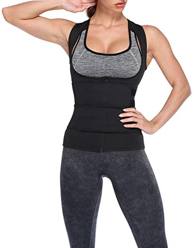 Qric Unterbrust Waist Trainer Korsett für Damen Figurformende Sauna Weste mit Taillenformer Taillenmieder Body Shaper Shapewear zur Fettverbrennung für Fitness Sport