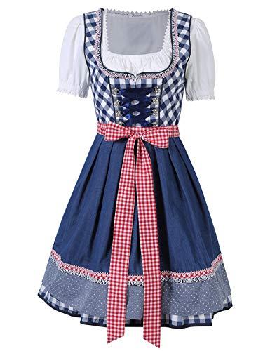 KOJOOIN Trachten Damen Dirndl Set - Midi Trachtenkleid Kurzarm Dirndlbluse für Oktoberfest - DREI Teilig: Kleid, Bluse, Schürze (Kariert - Blau M)