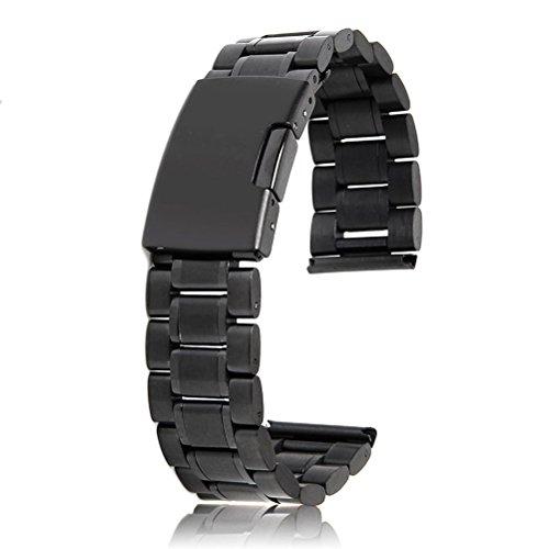 PIXNOR–Negro 20mm sólido Acero inoxidable reloj banda correa extremo recto con 2pcs Reloj Pins de barras de resorte