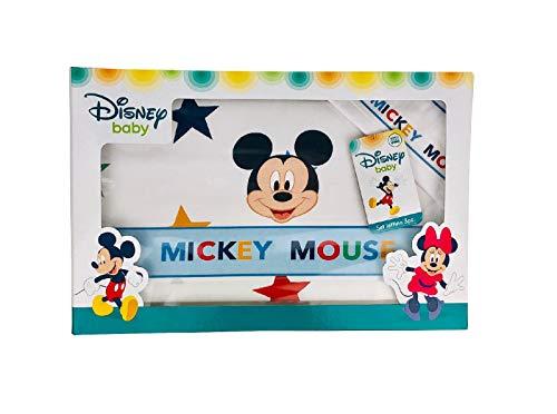 NADA HOME Disney Parure de lit pour bébé 3 pièces 100 % coton Mickey