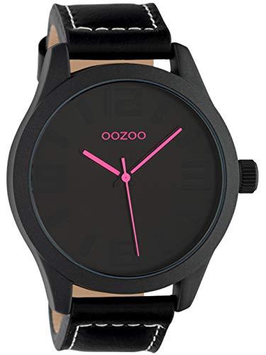 Oozoo Armbanduhr Basic Line mit Lederband 47 MM Black/Schwarz/Schwarz C1068