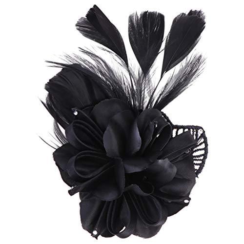 Minkissy 1 unid broche de plumas de flores pinzas para el cabello plumas de cocodrilo pinzas para el cabello para cóctel de boda fiesta de té (negro)