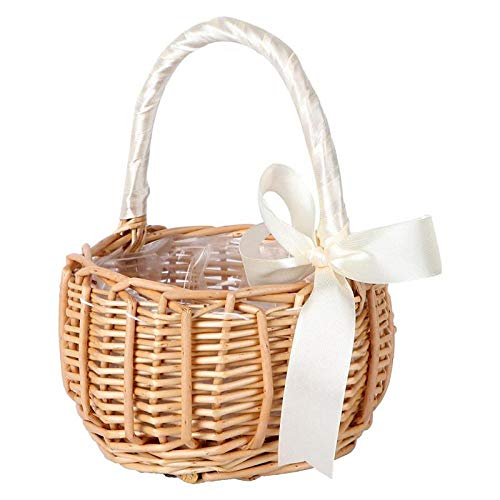 Woven Basket with Handle Wedding Party Flower Basket Storage Basket Woven Flower Basket Storage Bask