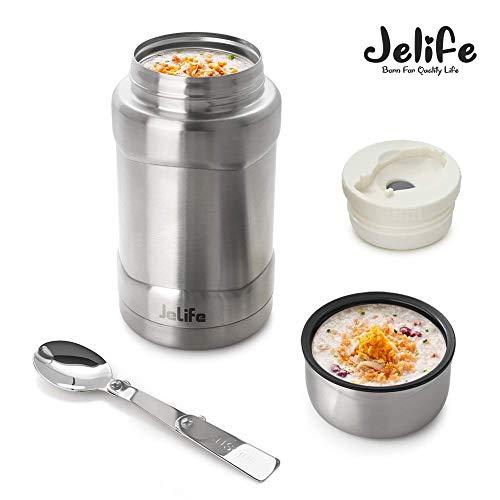 Jelife Thermobehälter Speisegefäß Thermo Isolierbehälter Warmhaltebehälter mit Löffel aus Edelstahl für Essen Suppe Speisen Brei Babynahrung.700ml