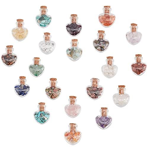PandaHall Juego de 20 mini botellas de cristal de deseos, sin perforar, piedras preciosas de cristal de Reiki para colgantes, collares, joyas, velas para decoración del hogar, 20 botellas/set