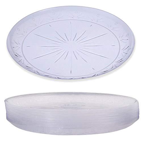 20 Elegante Platos Plástico Duro Desechable, Transparente, 26cm - Lavable & Reutilizable - Vajilla Desechables para Catering Bodas Fiestas Cumpleaños Navidad.