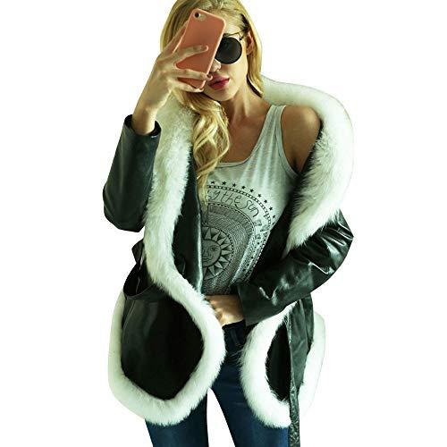 Writtian Winter Lederjacke Damen Wärmejacke Revers Faux Pelzmantel Wollmantel Frauen Mode Langarm Einfarbig Lose Casual Täglichen Oberteile Dünne Kurze Mantel Asymmetrisch Tunika mit Gürtel