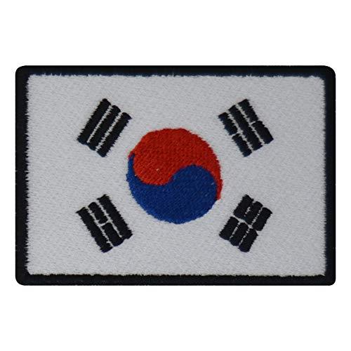 FanShirts4u Aufnäher - SÜD Korea - Fahne - 8 x 5,5cm - Bestickt Flagge Patch Badge Wappen (Schwarze Umrandung)