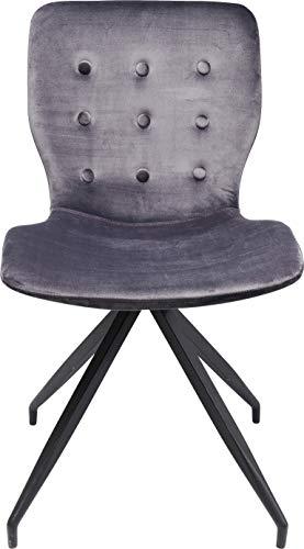 Kare Design Stuhl Butterfly, grauer Samtstuhl, Esszimmer Stuhl elegant, Schreibtischstuhl grau, Schmintischstuhl edel, (H/B/T) 84,5x47x56,2cm