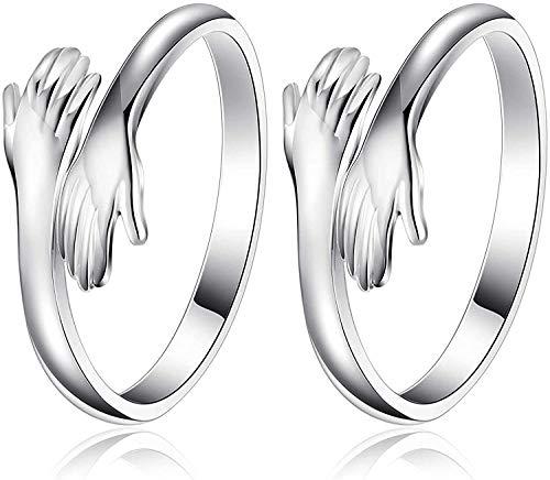 Anillo ajustable de plata de ley con manos abrazadas, 2 pares de anillos abiertos, par de anillos abrazados, anillos de hombre, para hombres, mujeres, niñas