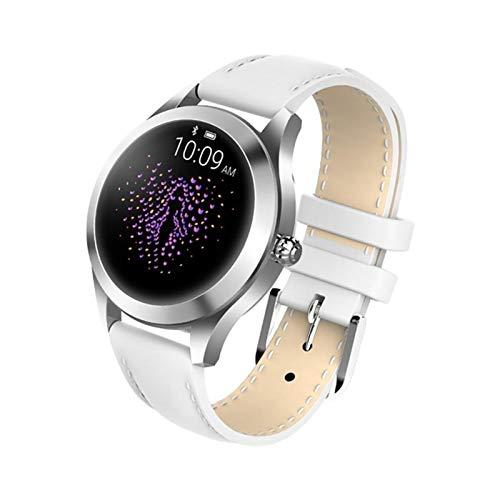 XXY Women Smart Watch IP68 Monitor De Ritmo Cardíaco Mensaje Mensaje De Llamada Recordatorio Podómetro Calorie SmartWatch Mujeres Relojes para Android iOS (Color : White Leather)