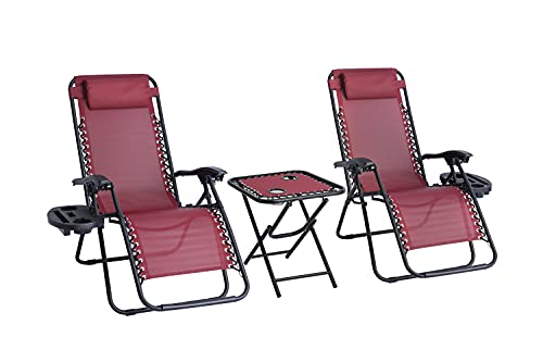Straame Garden | Zero Gravity Chair | Set of 2 | Heavy Duty Textoline | Outdoor & Garden Sunloungers | Reclining & Folding Chair with Cup Holder and Headrest Pillow | Burgundy with Table