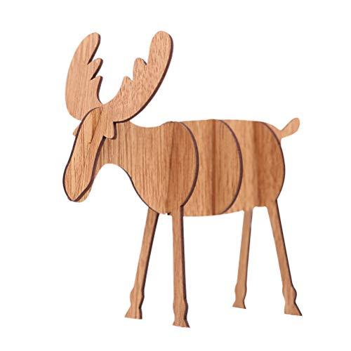 PRETYZOOM 5 Stück Holz Rentier Figur Hirsch Elch Dekofigur Tierfigur Weihnachtsfigur Weihnachtsdeko Xmas Party Deko DIY 3D Holzpuzzle - Kleine Größe (Khaki)