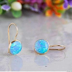 Dainty Blue Opal Dangle Earrings - 14k Solid Gold