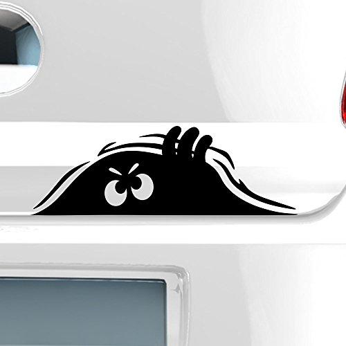 malango® Kleines Monster Monsteraugen Autoaufkleber Autosticker Aufkleber Sticker ca. 20 x 7 cm Mattschwarz Mattschwarz ca. 20 x 7 cm