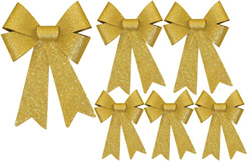 Black Duck Deals Christmas Decoration Holiday Glitter Bows- Red, Green & Gold (Gold)
