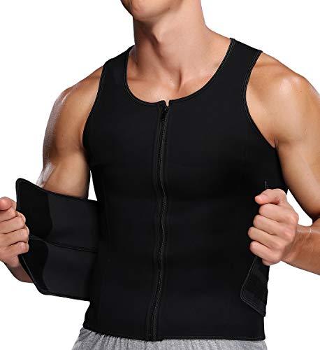 SLIMBELLE Chaleco de entrenamiento de cintura para hombre, camiseta de neopreno adelgazante con cremallera para bajar de peso, entrenamiento de fitness, cuerpo moldeador de sudor