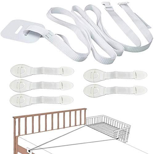 Senteen Barandilla De La Cama para Bebés, Bed Guard Rail Baby Bed Strap 5 Pcs Bloqueo De Seguridad Cerradura De Seguridad para Bebes, Instalación Excepcionalmente Fáciles