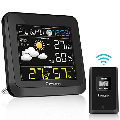 FYLINA Wetterstation mit Außensensor 13-in-1 Multifunktion 360 Grad Farbiges HD Display Thermometer Hygrometer für Innen und Außen,Mondphasen Wettervorhersage mit Digitaler Wecker