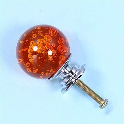 Wusfeng HongBin-Schrankgriffe Schrank Türgriffe, Kristallluftblasen-Kugel Möbelknopf, Küchenschrank Türgriffe, Schubladengriffe, Möbelgriffe, 30mm , Schrankzubehör (Color : Orange)