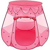 LittleTom Mädchen Spielzelt 120x120x90cm Kinder-Zelt Bällebad Pop-up Zelt Rosa