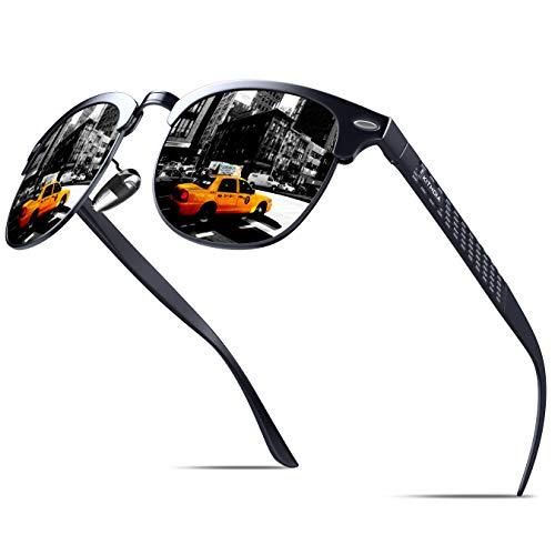 KITHDIA Polarisiert Sonnenbrille Herren Damen Aluminium Magnesium Metallrahmen S046 (Schwarz)