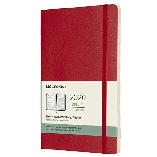 Moleskine 12 Mesi 2020 Agenda Settimanale, Copertina Morbida e Chiusura ad Elastico, Colore Rosso Scarlatto, Dimensione Large 13 x 21 cm, 144 Pagine