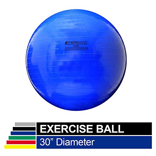 TheraBand Exercise Ball, Stability Ball with 75 cm Diameter for Athletes 6'2' to 6'8' Tall, Standard Fitness Ball for Posture, Balance, Yoga, Pilates, Core, Rehab, Blue