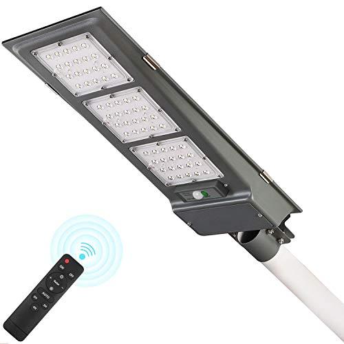 Lampione Stradale Solare LED 90W, Lampione Solare Led Esterno con Sensore di Movimento 3 Luce Modalità 6000K Luce da Parete IP65 Impermeabile Sensore di movimento wireless per cortile,giardino,strada