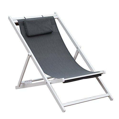 PatioPost Outdoor Portable Patio Beach Folding Adjustable Sling Chair with Headrest,Grey