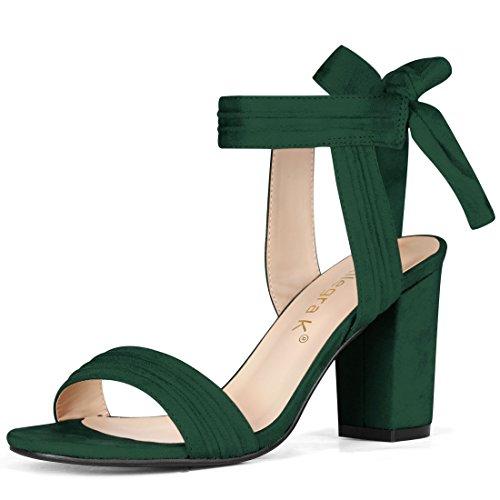 Allegra K Women's Open Toe Ankle Tie Chunky Heel Dark Green Sandals - 8 M US
