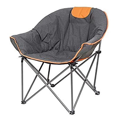 Suntime Leisure Moon Folding Camping Chair Stable and Portable to Carry?Orange?