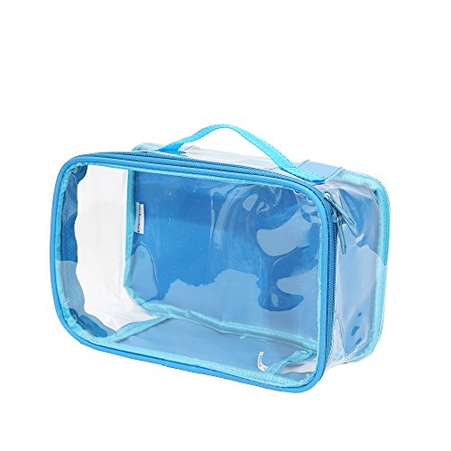 Clear Toiletry Makeup Bag, Cosmetic Organizer, Travel Case, PVC Plastic w/ Handle (Turquoise)