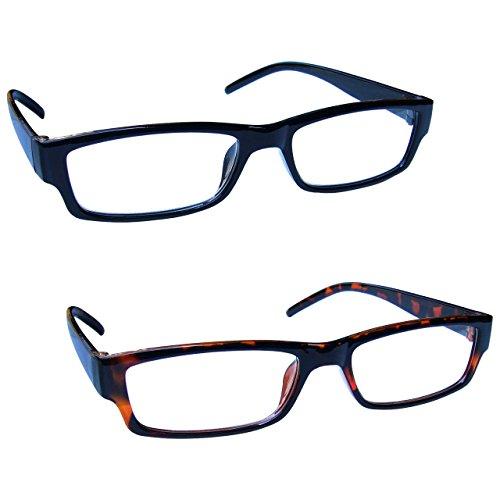 The Reading Glasses Company Die Lesebrille Unternehmen Leicht Leser Wert 2er-Pack Herren Frauen RR32-12 +1, 50, Schwarz & braune Schildpatt, 2 Stück