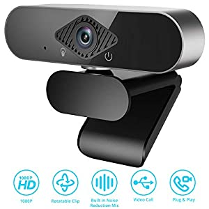 1080P Webcam, Video Record Full HD PC Web Camera Built-in Mic, Webcam Streaming Computer Web Camera Clip-on for Computers PC Laptop Desktop, USB Plug, and Play, Conference Study Video Calling, Skype