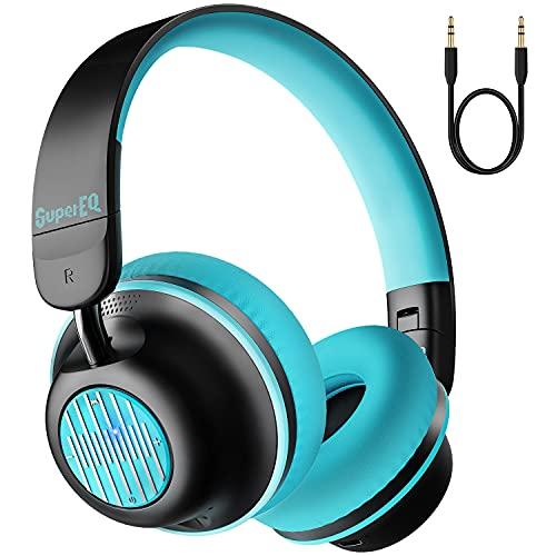 Auriculares con Cancelación Activa de Ruido, SuperEQ S2 Cascos Inalambricos Bluetooth 5.0 con micrófono CVC 8.0, Hi-Fi Graves Profundos, 25 Horas de Reproducción, para PC/Teléfonos Celulares/TV