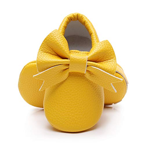 Dukars Baby Boys Girls Soft Sole Moccasins Lace-up Infant Toddler Shoes Sneaker Yellow