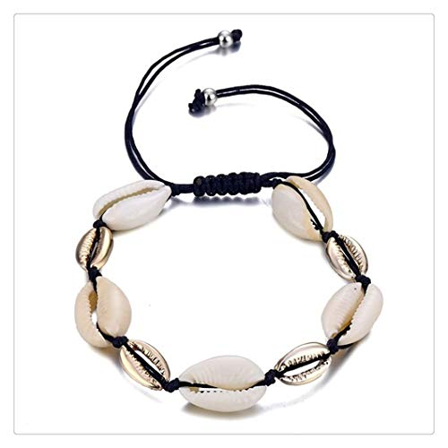 DERFX Bohemia Vintage Shell Rope Chain Bracelet Women Beach Sea Shell Bracelet Anklet Jewelry Party Gift Accessories (Metal Color : 9)